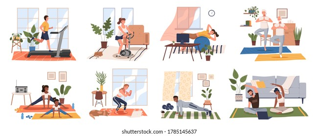 Sport exercise at home scenes set. Different people doing workout indoor. Yoga and fitness, healthy lifestyle. Flat vector illustration men and women using house as a gym lead an active lifestyle - Shutterstock ID 1785145637