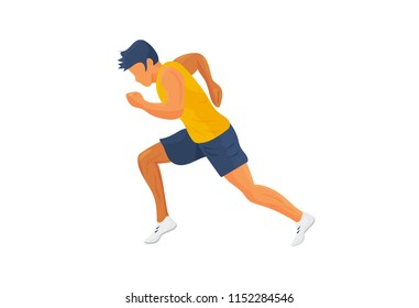 Sport exercise vector illustration: male runner or jogger isolated. Athlete sprinter running or jogging silhouette. Fitness icon.