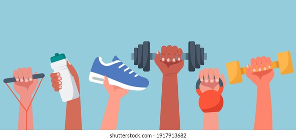 Sport exercise web banner concept, human hands holding training equipment such as dumbbells, kettlebell and resistance band, time to fitness workout and healthy lifestyle, flat vector illustration