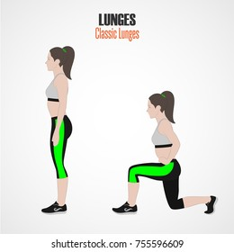Sport exercises. Exercises with free weight. Classic Lunges. Illustration of an active lifestyle. Exercise for beautiful thighs and buttocks. Vector.