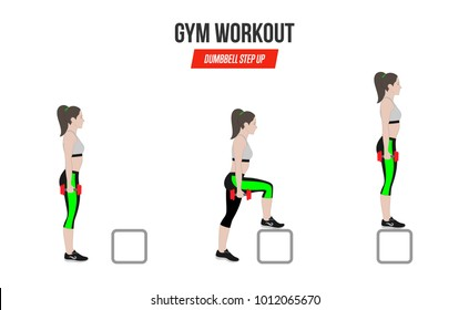 Sport exercises. Exercises in a gym. Dumbbell Step Up. Illustration of an active lifestyle.