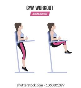 Sport exercises. Gym workout. hanging leg raises. Captain's chair leg raise. Illustration of an active lifestyle. Vector