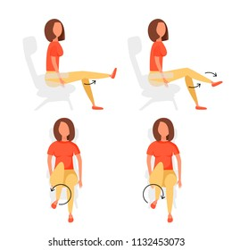 Sport exercises for office. Different postures of legs when the girl is lies, lies. Vector illustration set.