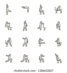 Sport Exercises for Office Signs Black Thin Line Icon Set Include of Fitness and Workout. Vector illustration of Icons