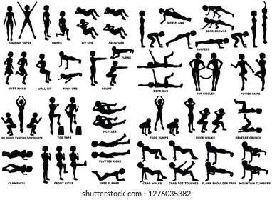 Sport exersice. Silhouettes of woman doing exercise. Workout, training Vector illustration. Jumping Jacks, lunges, sit ups, crunches, push ups, plank squat and more