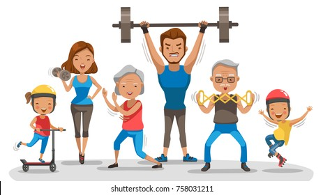 Sport Family. Big family happy Exercise together happily. Bodybuilder father, Mother lifting dumbbells. Son skate, Daughter riding a scooter, Granny Boxing Tai Chi, Grandfather executive body, Vector