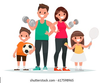 Sport family. Dad, mother, son and daughter lead a healthy lifestyle and are engaged in fitness and various sports. Vector illustration in a flat style