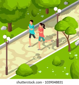 Sport family running in park vector isometric 3d illustration. Healthy lifestyle concept. Sport and fitness outdoor, people run active illustration