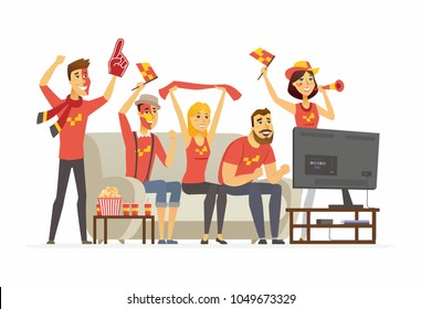 Sport fans - cartoon people character isolated illustration on white background. An image of a group of friends with football attributes and popcorn watching TV championship, cheering for the team
