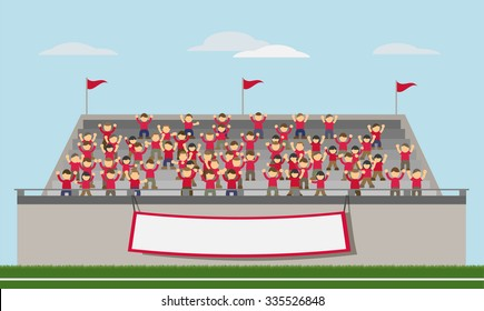Sport Fans of Red Team Cheering In The Stands. Vector