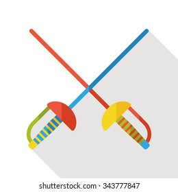 sport fencing flat icon