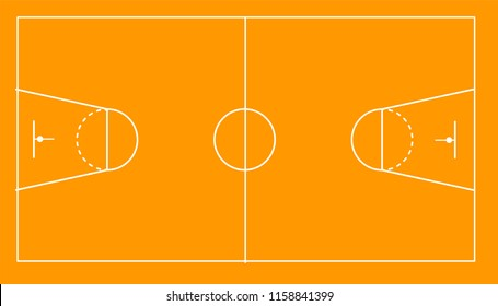 Sport field with white marking for basketball
