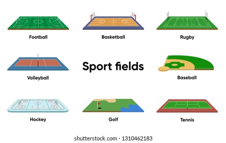 Sport Fields isometric vector illustration on white. Golf, Hockey, Rugby, Tennis, Volleyball, Baseball, Basketball, Football.