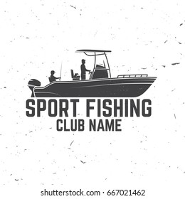Sport Fishing club. Vector illustration. Concept for shirt or logo, print, stamp or tee. Vintage typography design with fish rod silhouette.