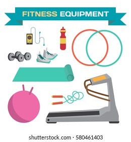 Sport and fitness equipment. The treadmill, yoga mat, jump rope, dumbbells, hoop. Flat cartoon isolated vector illustration