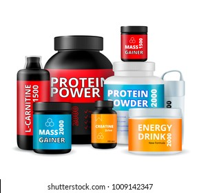 Sport fitness food supplements nutrition bottles realistic composition with protein powder energy drink mass gainer vector illustration