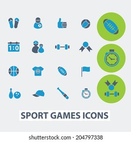 sport, fitness, games, victory vector set of colorful flat icons, signs, design elements for mobile and web applications.