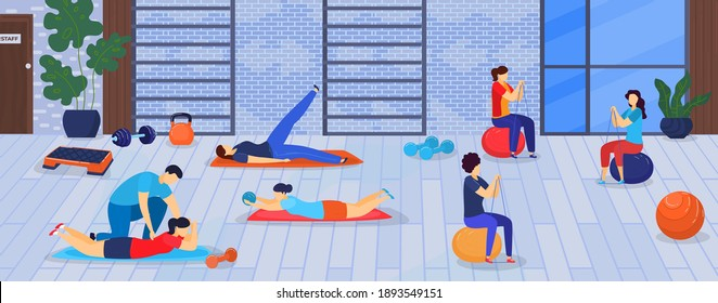 Sport and fitness in gym vector illustration. Healthy sportsmen doing exercises training with sports equipment, sportive man and women. Human activity workout in gym weight loss.