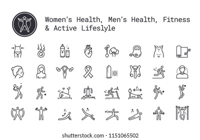 Sport, fitness, gym workout, health thin line icons. Man and woman healthcare, cancer awareness symbols. Exercise machine, sports lifestyle, yoga, recreation activity logo concept for web, mobile apps