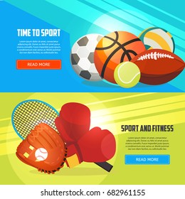 Sport and fitness horizontal banners. Football, basketball, boxing, tennis, baseball, rugby, voleyball vector illustration. Creative sport games concept banners.