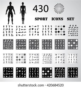 Sport fitness icons set illustration