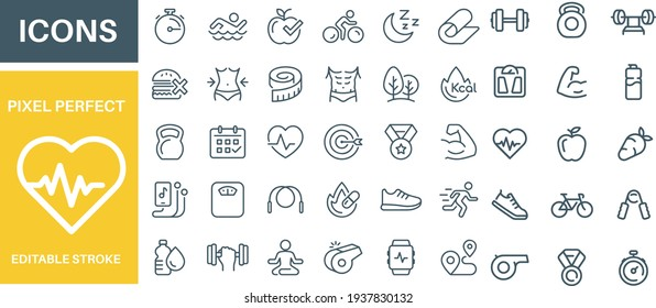 Sport and Fitness Icons Set vector design