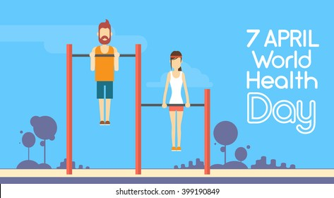 Sport Fitness Man Woman Pull Ups Horizontal Bar Exercise Workout World Health Day 7 April Flat Vector Illustration