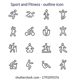 Sport and Fitness - outline icon set stock illustration .  Running, Swimming, Walking, Jumping; Exercising, Cycling, Skipping, Gym; Hiking, Yoga, Treadmill, Treadmill, Stretching, Exercise Bike,