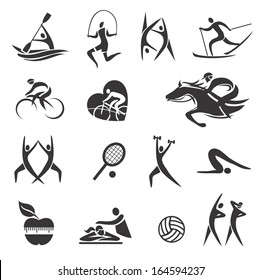 Sport Fitness symbols Icons and illustrations with sport fitness and healthy lifestyle activities. Vector illustration.