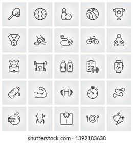 sport and fitness thin line icons set, vector illustration eps10