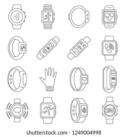 Sport fitness tracker wristband icon set. Outline set of sport fitness tracker wristband vector icons for web design isolated on white background
