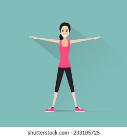 sport fitness woman exercise workout girl flat icon vector illustration