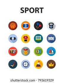 Sport flat icon set. Vector illustration. Element template for design.