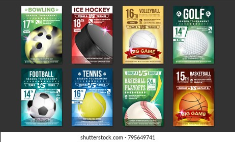 Sport Flyer Ad Set Vector. Golf, Baseball, Ice Hockey, Bowling, Basketball, Tennis, Soccer. Design For Sport Bar Promotion Template. Modern Tournament. A4 Size. Championship Flyer Illustration