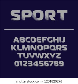 Sport font design. Futuristic letters and numbers . Vector