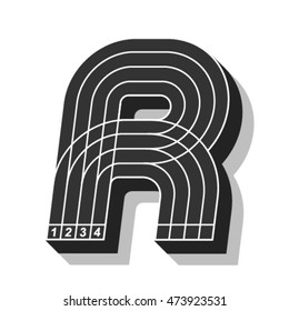 Sport font, letter R, running track, vector.