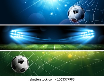 Sport Football or Soccer Banners in dark color. Vector illustration