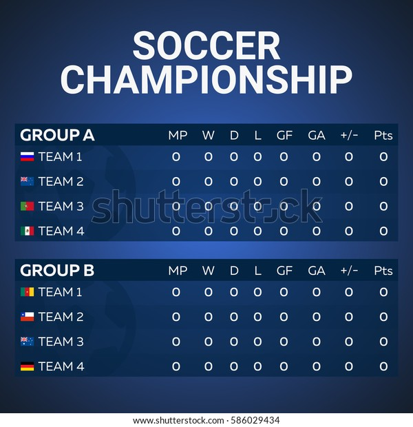 Sport Football Soccer Table List Vector Stock Image Download Now