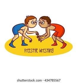 Sport. Freestyle Wrestling. Vector Illustration