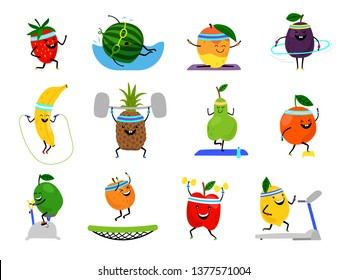 Sport fruits characters. Funny fruit foods on sport exercises, fitness vitaminic human healthy nutrition vector illustration