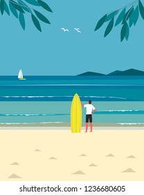 Sport fun on sea beach. Leisure activity on sand seashore. Colorful minimal style cartoon. Young man with surf. Summer vacation surfing enjoy, recreation. Vector ocean waves seascape scenic background