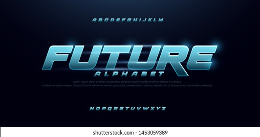 sport future blue glow modern alphabet fonts. technology typography bold and italic font uppercase. vector illustration