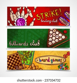 Sport and gambling games sketch colored horizontal banner set with bowling billiards and board isolated vector illustration
