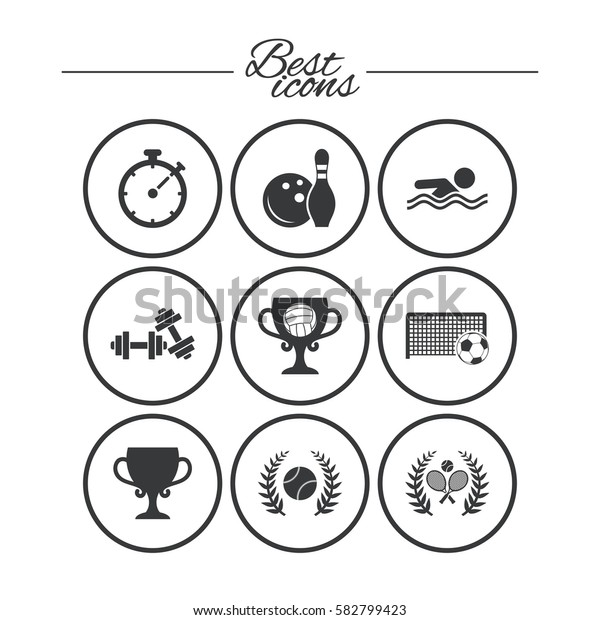 Sport games, fitness icons. Football, tennis and volleyball signs. Swimming, timer and bowling symbols. Classic simple flat icons. Vector