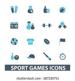 sport games, fitness icons, signs, illustrations set, vector