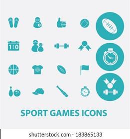 sport games flat icons set  for digital web, print, design, mobile phone apps, vector
