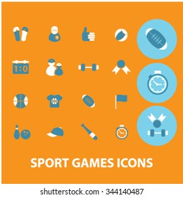 sport, games, gym, fitness icons, signs vector concept set for infographics, mobile, website, application