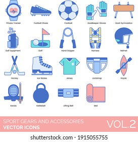 Sport gears and accessories icons including fitness tracker, football shoes, goalkeeper gloves, goat gymnastics, golf equipment, hand gripper, harness, hockey, ice skate, jersey, jockstrap, kettlebell