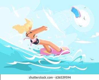 Sport girl on kite surfing