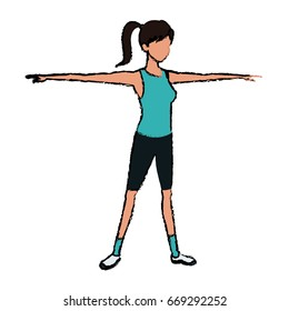 sport girl open arms athletic fitness image